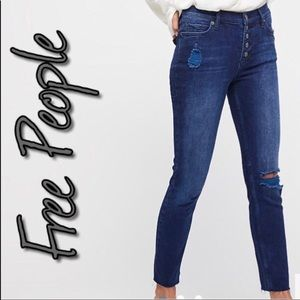 Free People Destroyed Button Front Jeans NWT 29